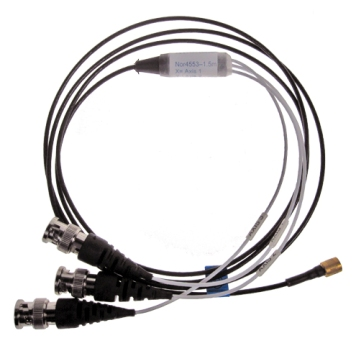 Nor 4553 1,5 and 5 m cable with 3 x BNC connectors to a 4 pin Microcom connector.